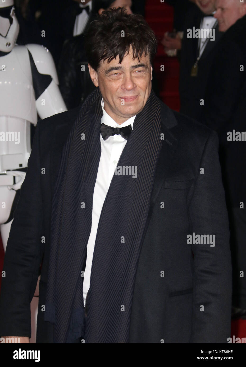 Dec 12, 2017 - Benicio Del Toro attending 'Star Wars: The Last Jedi' European Premiere at Royal Albert Hall  in Stock Photo