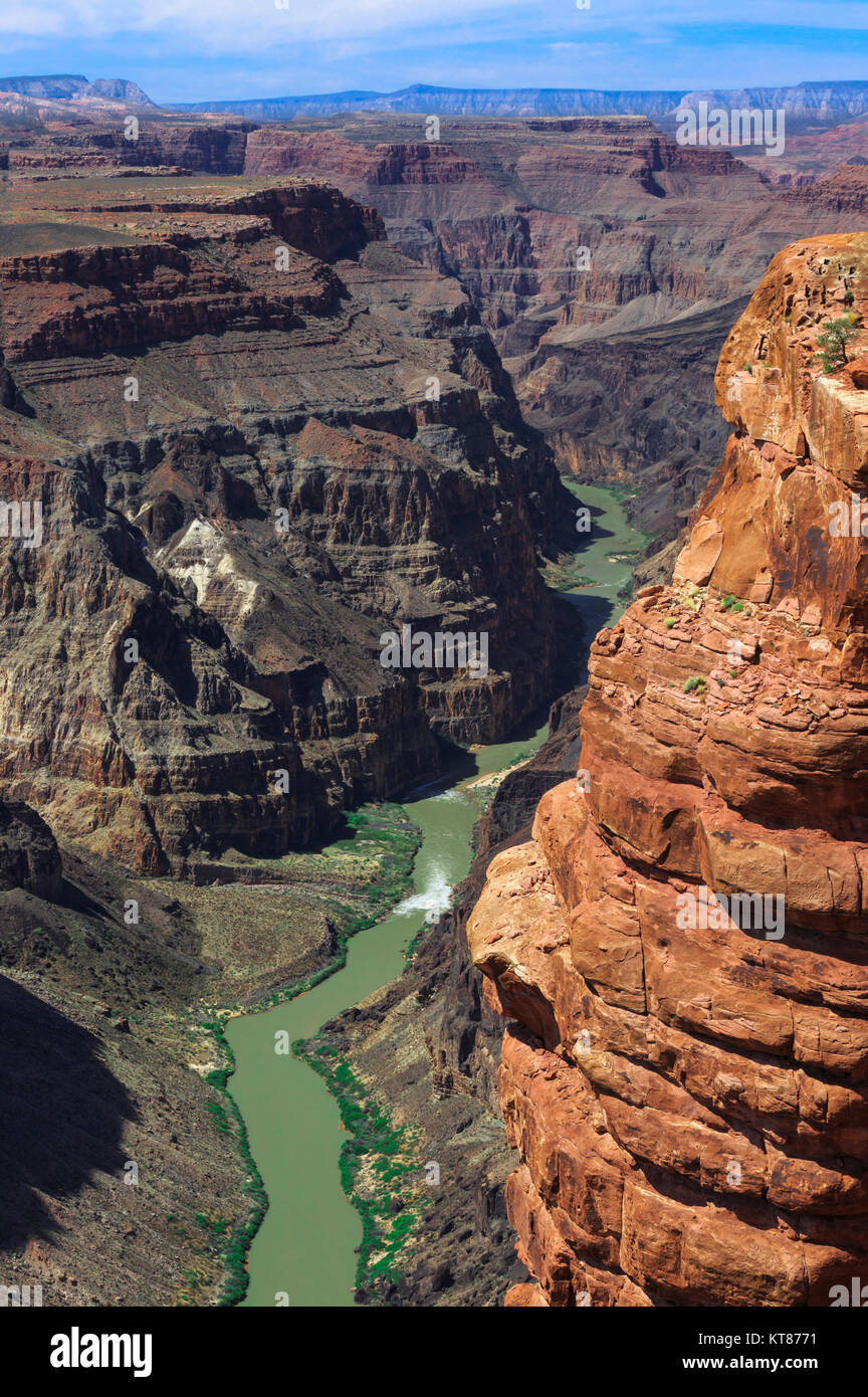 colorado river at lava falls rapids viewed from toroweap overlook in grand canyon national park, arizona - Stock Image