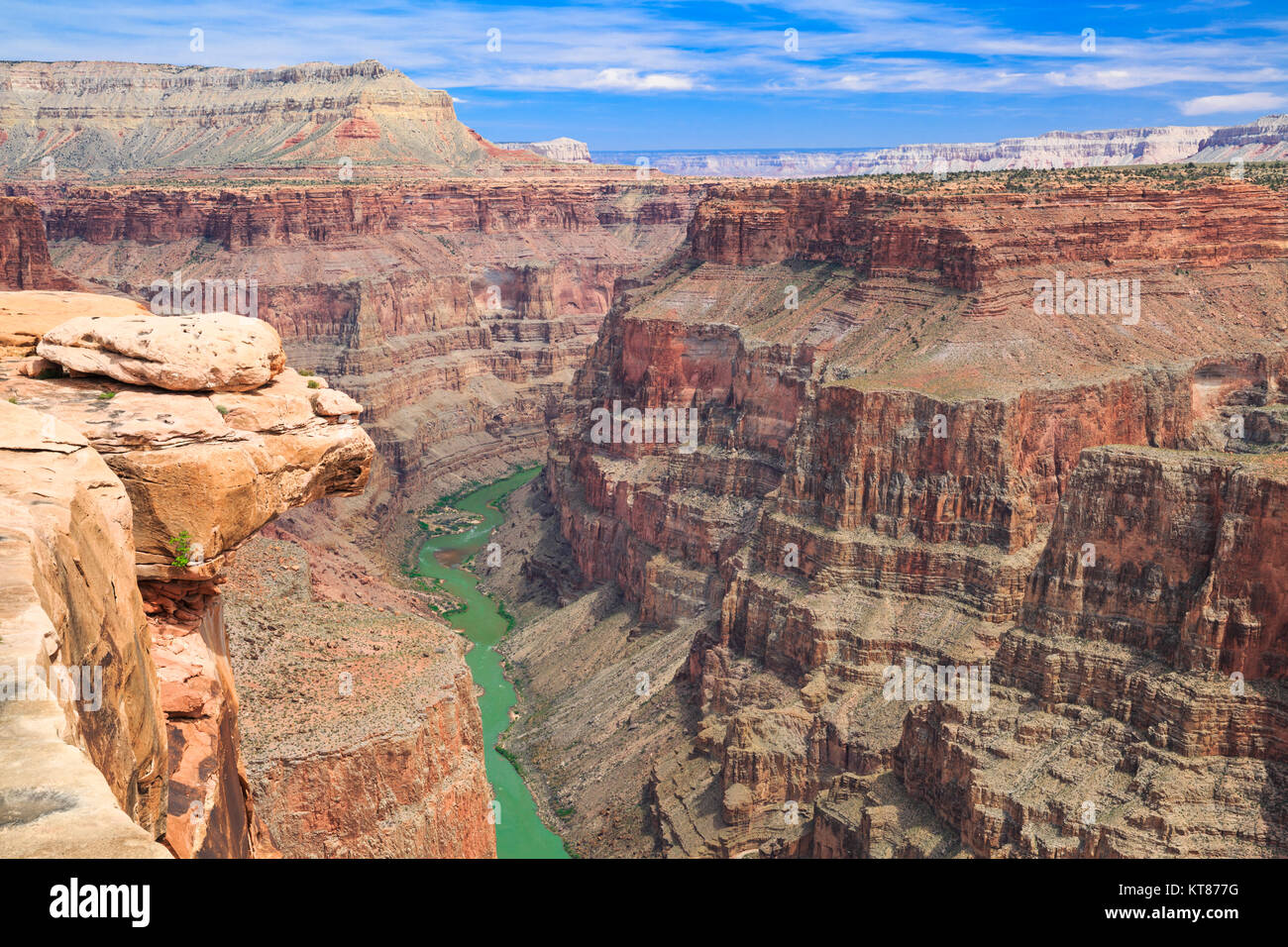 colorado river viewed from saddle horse trail at toroweap overlook in grand canyon national park, arizona - Stock Image
