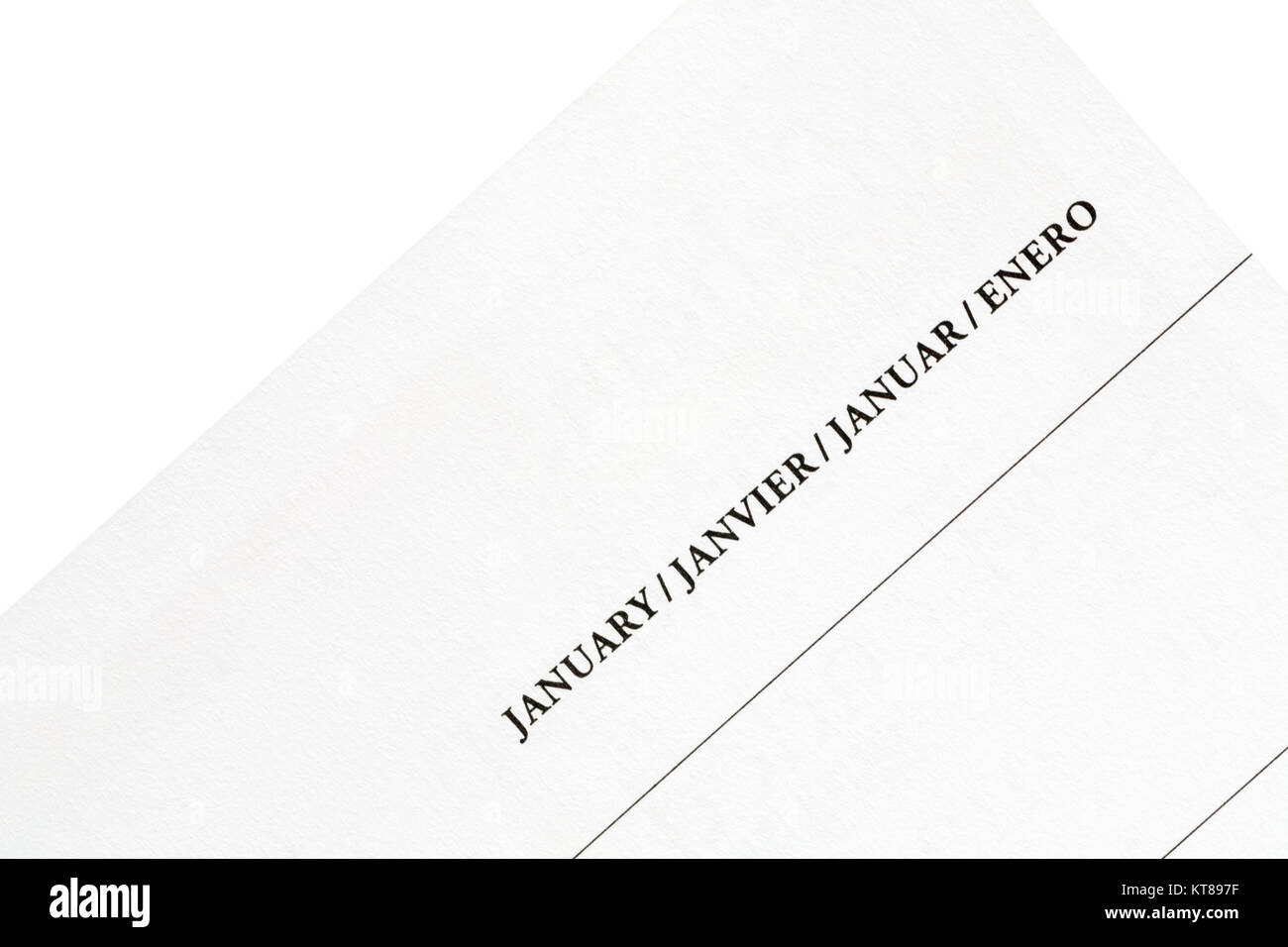 January in different languages on page of calendar diary - Stock Image