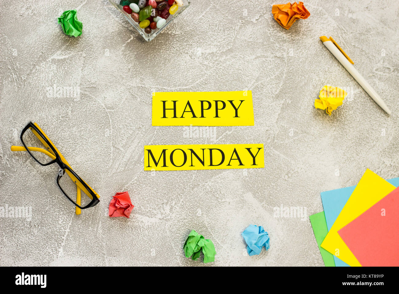 Happy Monday Inscription Printed On A Yellow Paper In A Frame Of