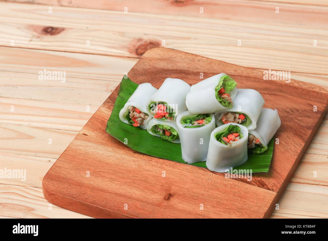 Spring Roll With Vegetable On Banana Leaf Wood Floor Background Stock Photo Alamy