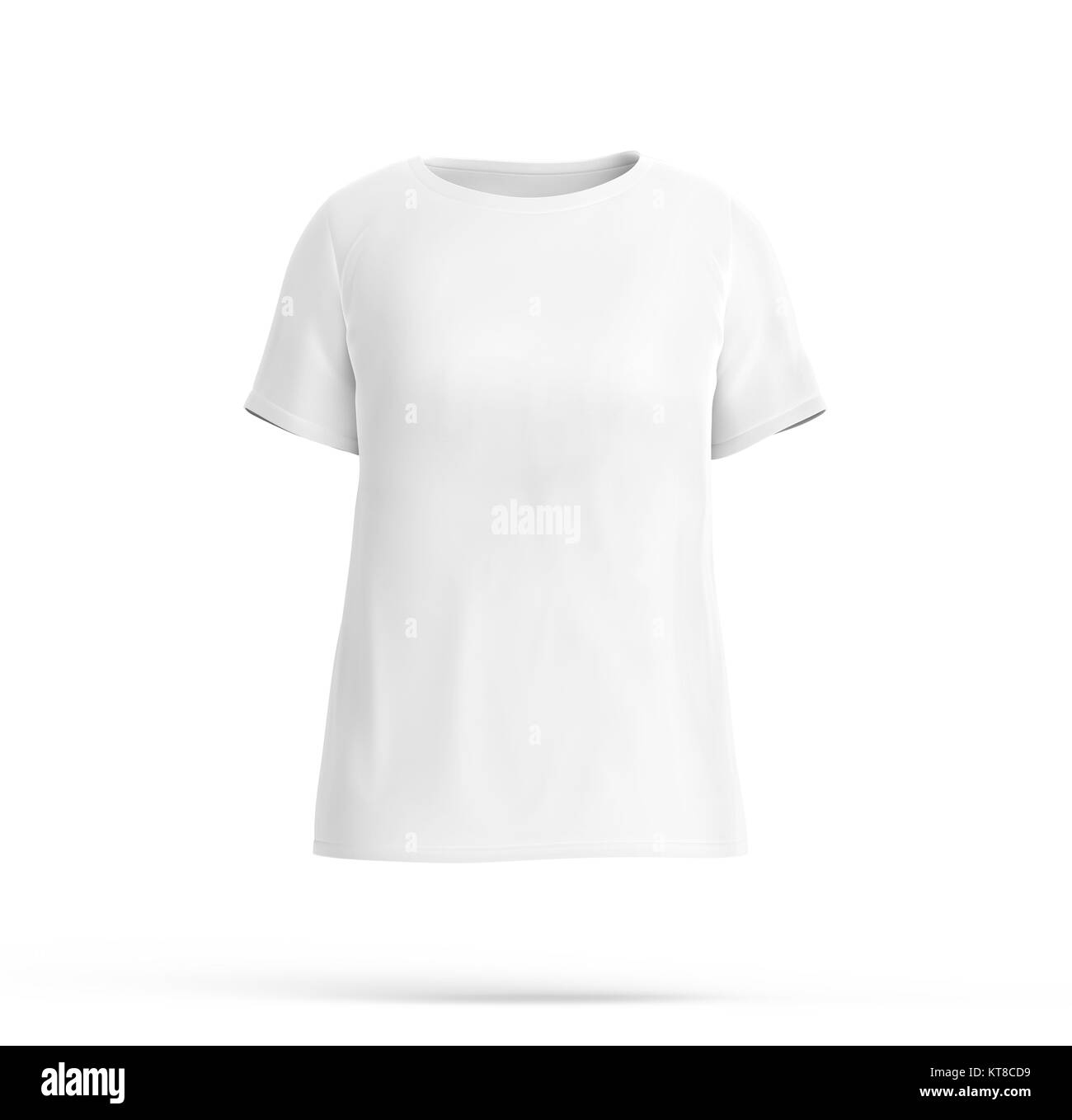 Crew Neck Shirt Mockup Blank White Cloth Template For Women With Invisible Model On Background 3d Render