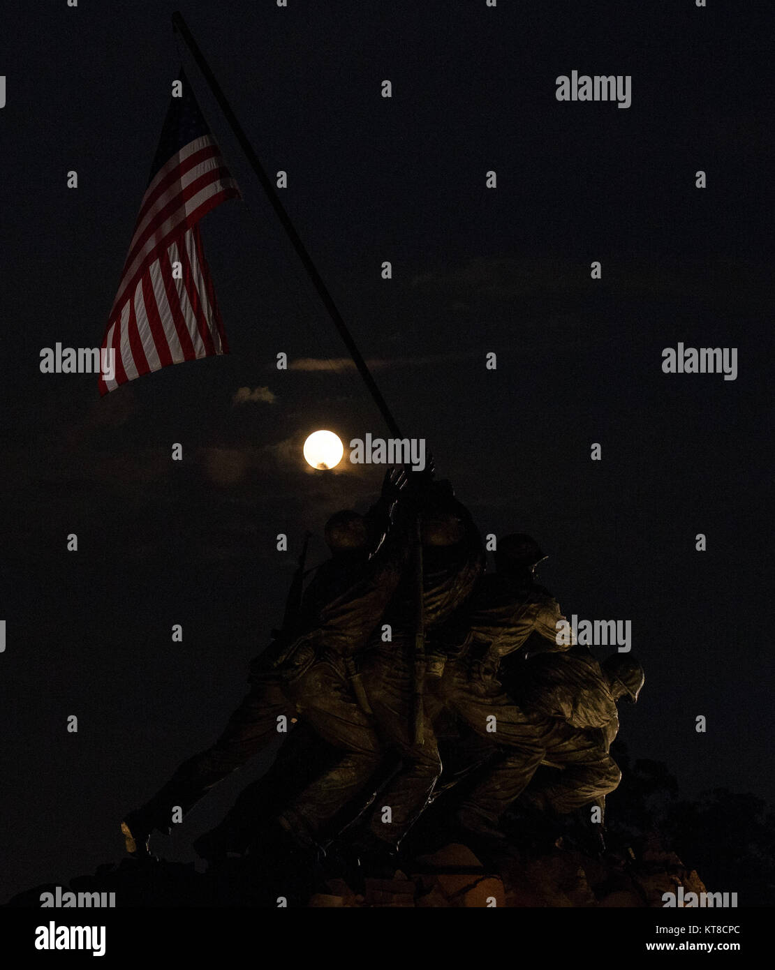 A perigee full moon or supermoon is seen over the US Marine Corps War Memorial, Sunday, August 10, 2014, in Arlington, - Stock Image