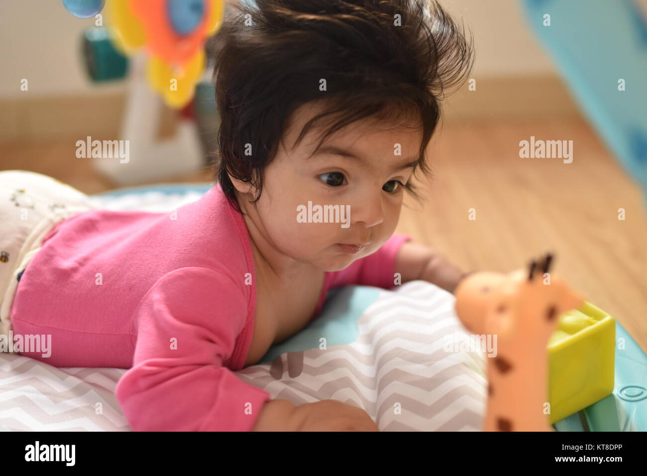 Crawling baby girl stares attentively examining her toys - Stock Image