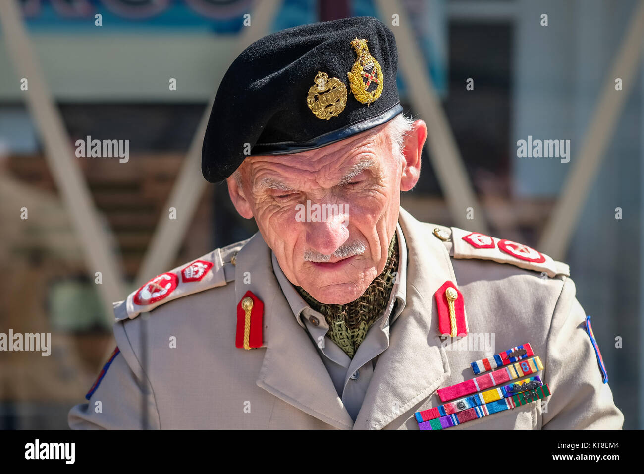 'Montgomery' 1940s Re-enactor at the Black Country Living Museum in Dudley, England, UK - Stock Image