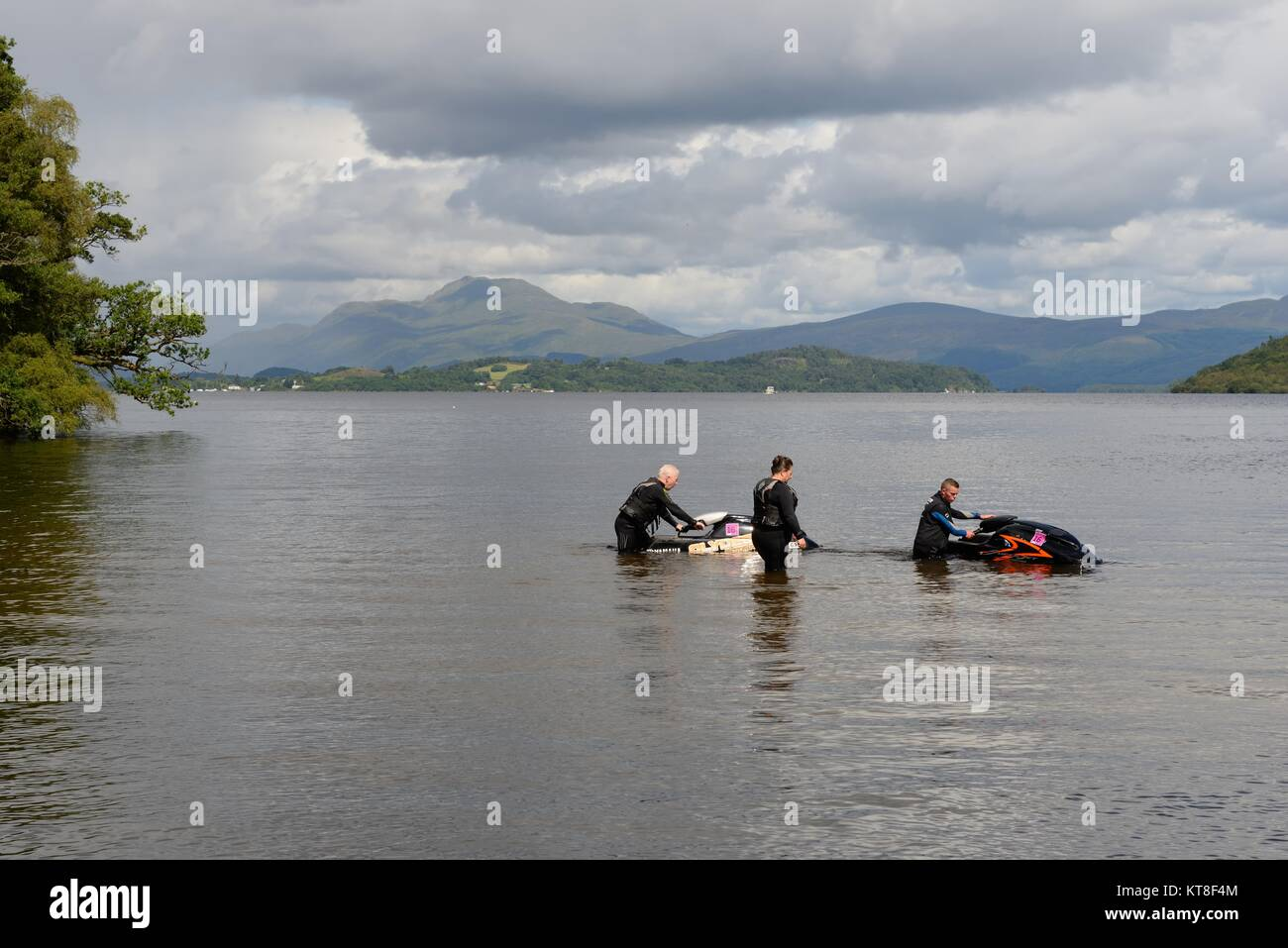 Jetski tuition from qualified instructor on Loch Lomond, Alexandria, Scotland, UK - Stock Image