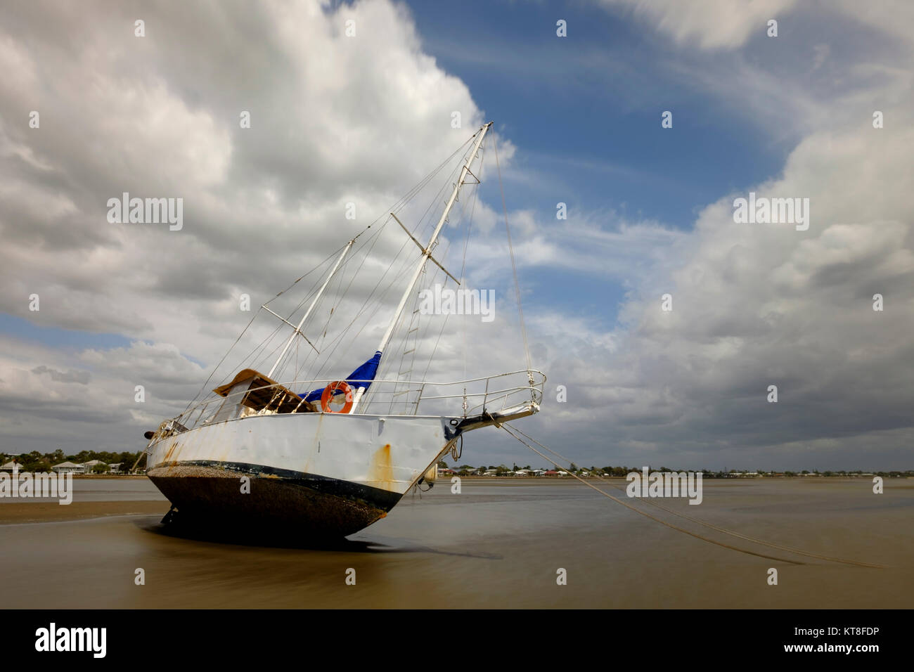 A yacht which broke its mooring and has run aground off Sandgate - Stock Image