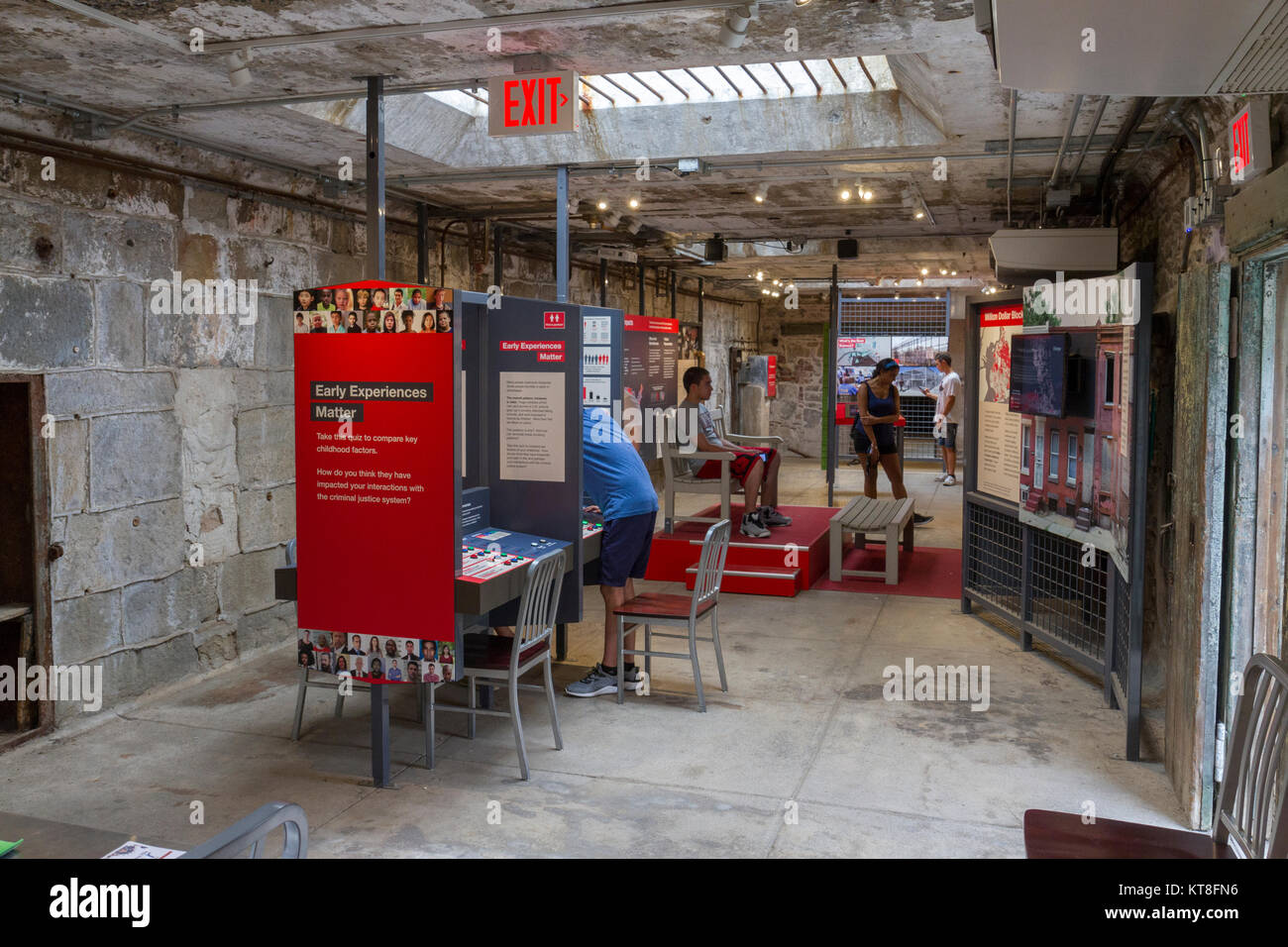 Exhibition 'Prisons Today' inside the Eastern State Penitentiary Historic Site, Philadelphia, Pennsylvania, - Stock Image