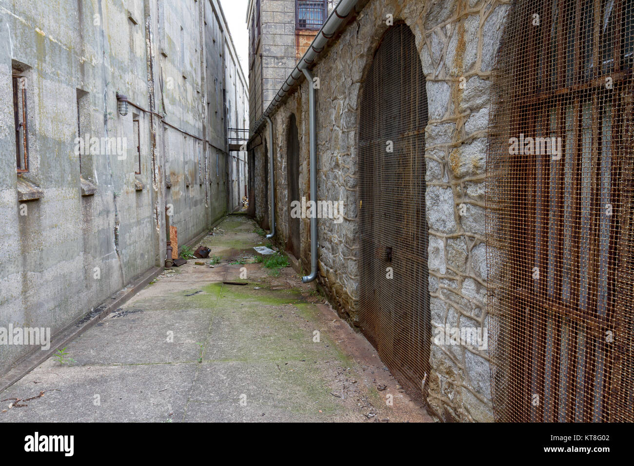 Solitary Confinement cells inside the Eastern State Penitentiary Historic Site, Philadelphia, Pennsylvania, United - Stock Image