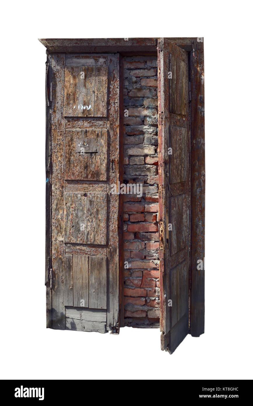 Old, abandoned doorway stone laid isolated on white - Stock Image