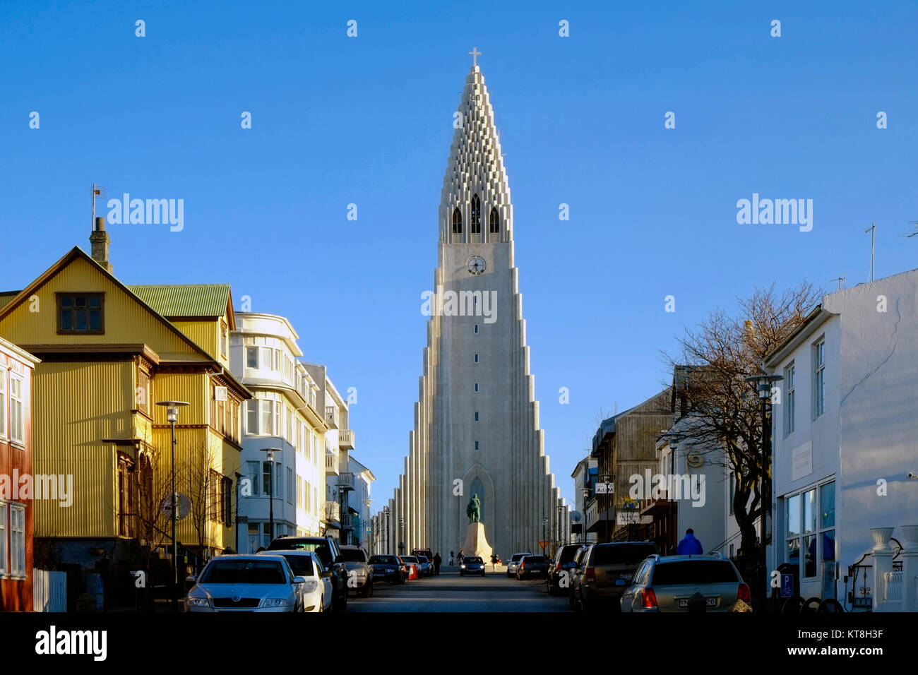 Hallgrimskirkja Church, Reykjavik, Iceland, Polar Region - Stock Image