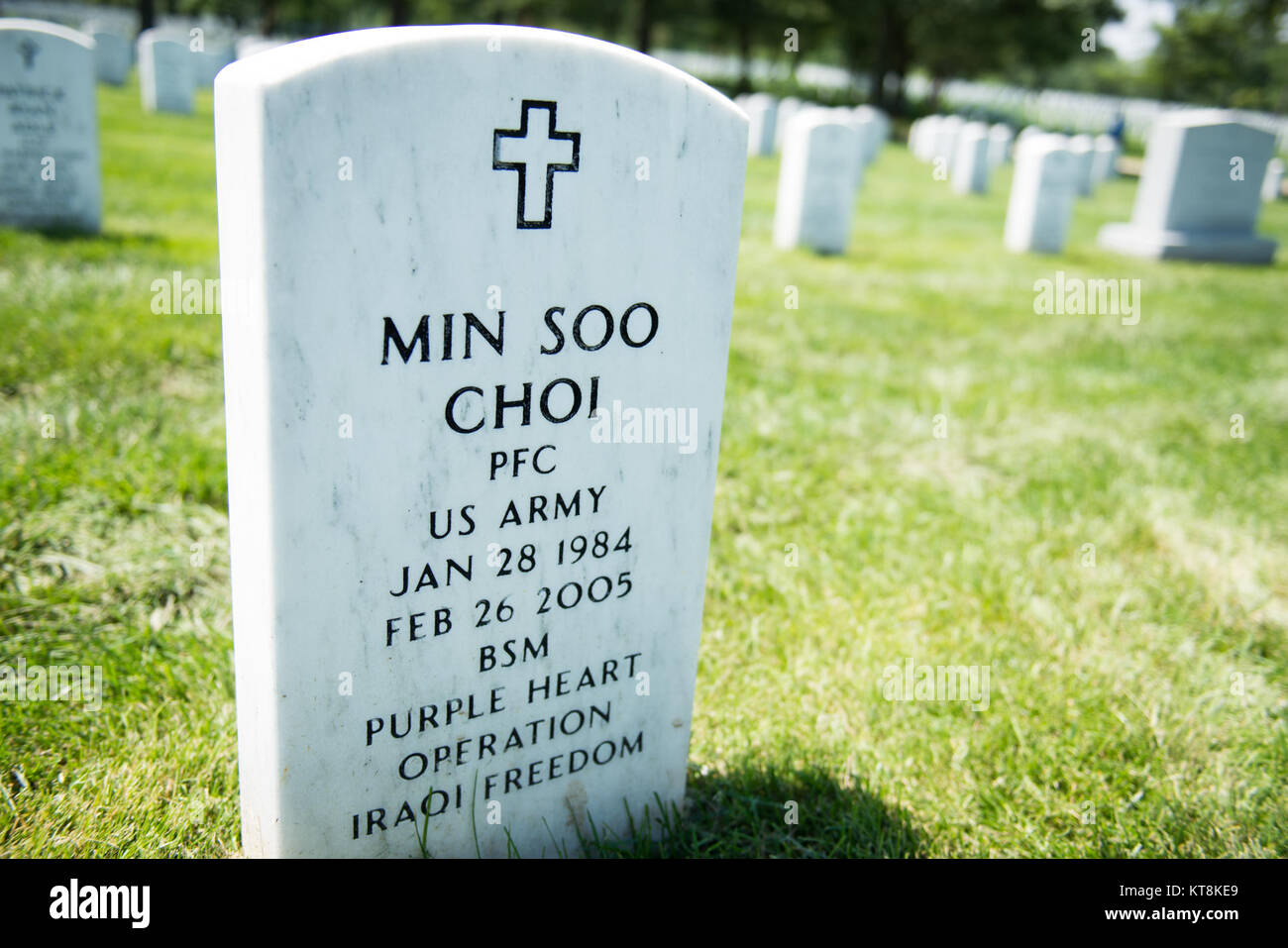 U.S. Army Pfc. Min Soo Choi, born Jan. 28, 1984 and died Feb. 26, 2005, is buried in Section 60, Grave 8101 of Arlington - Stock Image