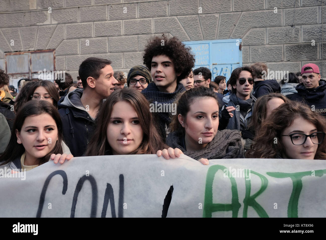 Naples, Italy, Italy. 22nd Dec, 2017. Thousands of students marched from Miracle's square to protest against - Stock Image