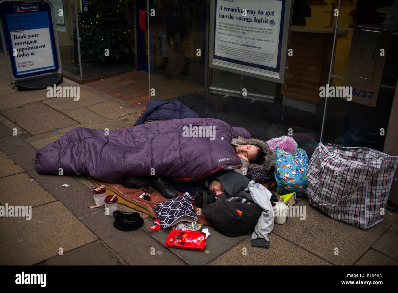 Cambridge, England, UK. 23rd Dec, 2017. Rough sleepers in Cambridge, 23 December 2017. Homeless rough sleepers in - Stock Image