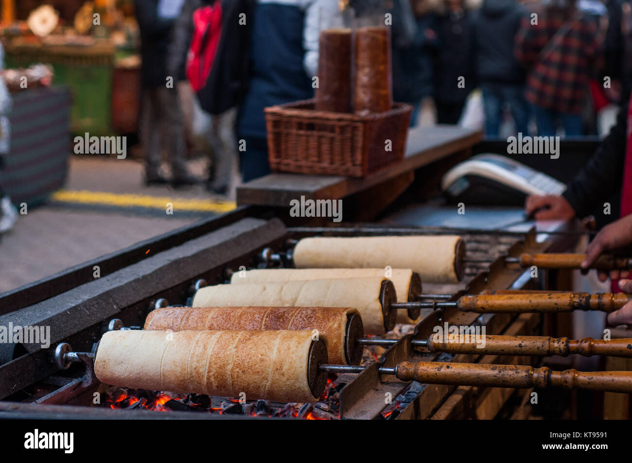Chimney cakes at the Christmas Market Stock Photo