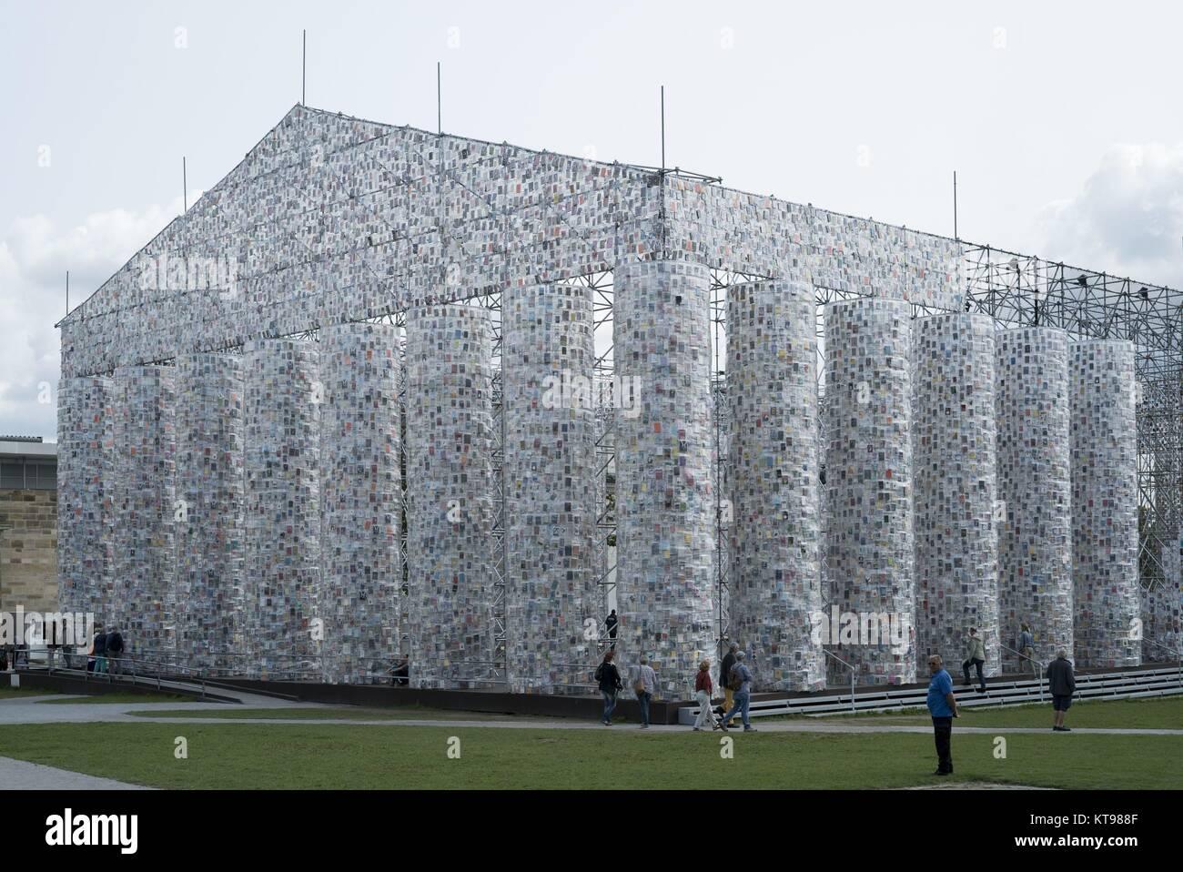 documenta 14 Art Installation Pantheon of Booky by Marta Minujin on Friedrich Square in Kassel , 22.8.2017  ATTENTION: - Stock Image