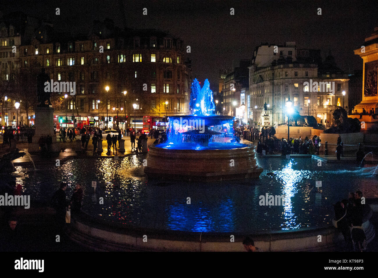 London, UK, 21/12/2017 Trafalgar Square Christmas tree 2017. The tree is an annual gift from Norway for the UK's - Stock Image