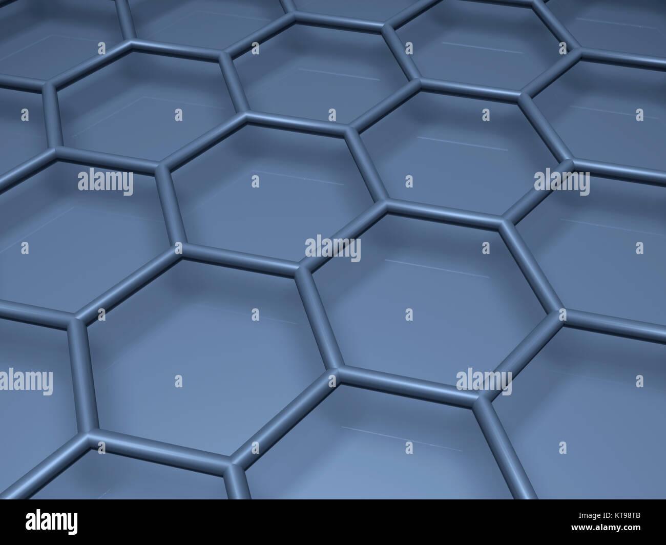 Blue hexagonal lattice fragment, 3d illustration Stock Photo