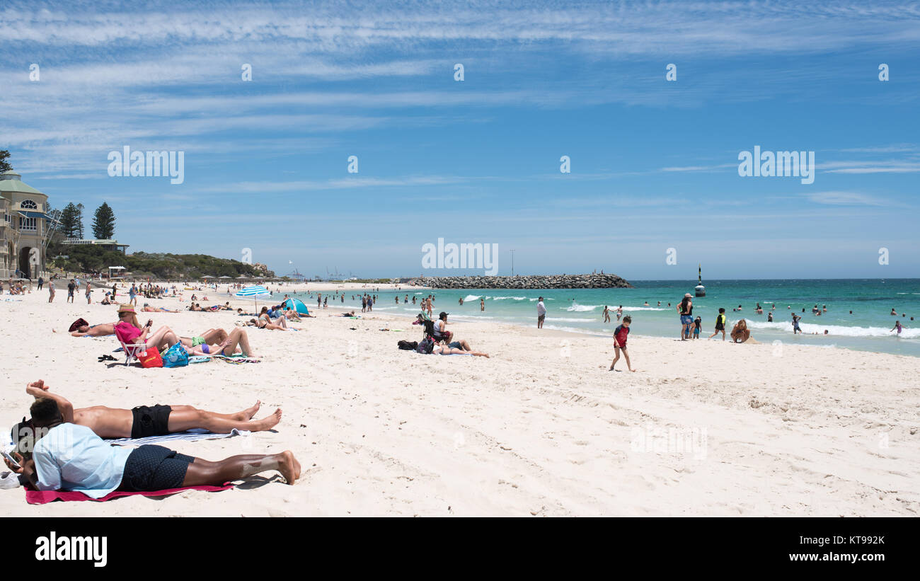 PERTH, Australia, WA / Western Australia - 2017 December 22, , Cottesloe . General view over the Cottesloe Beach - Stock Image