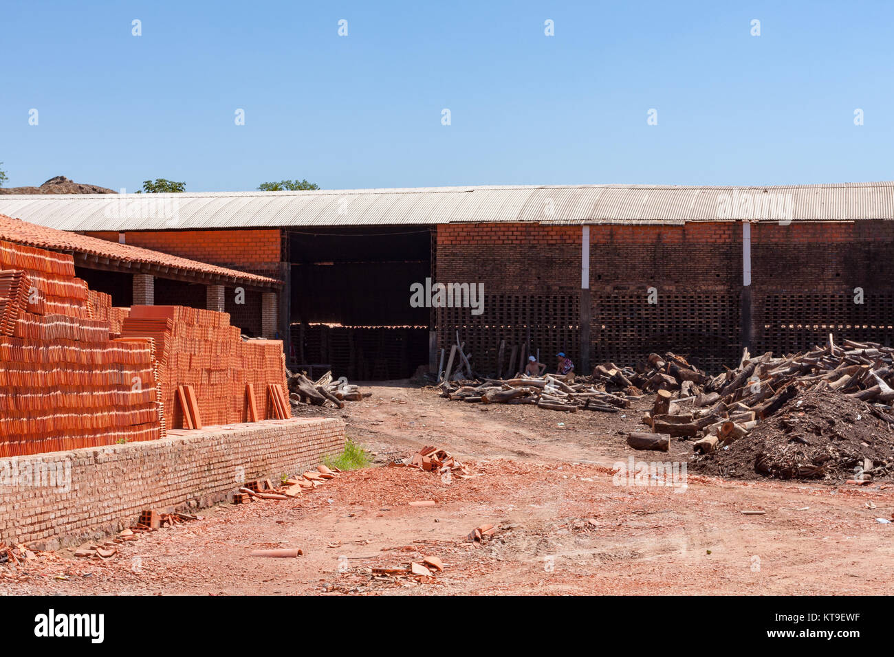 Roofing tile and bricks traditional operations factories, Tobati District, Cordillera Department, Paraguay - Stock Image