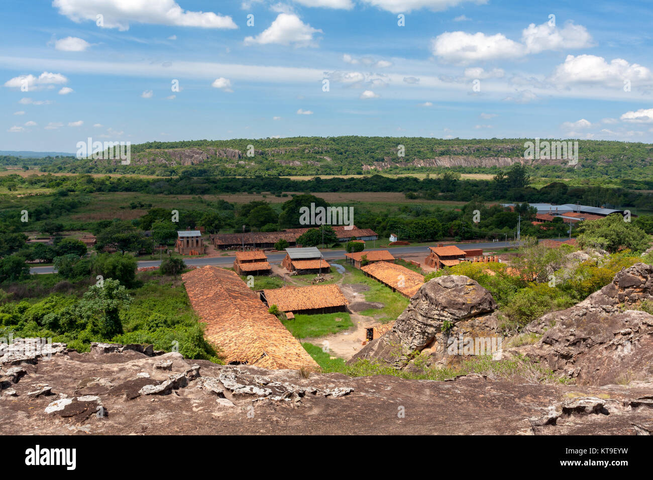 Roofing tile and bricks traditional operations factories and wood fired kilns, Tobati District, Cordillera Department, - Stock Image