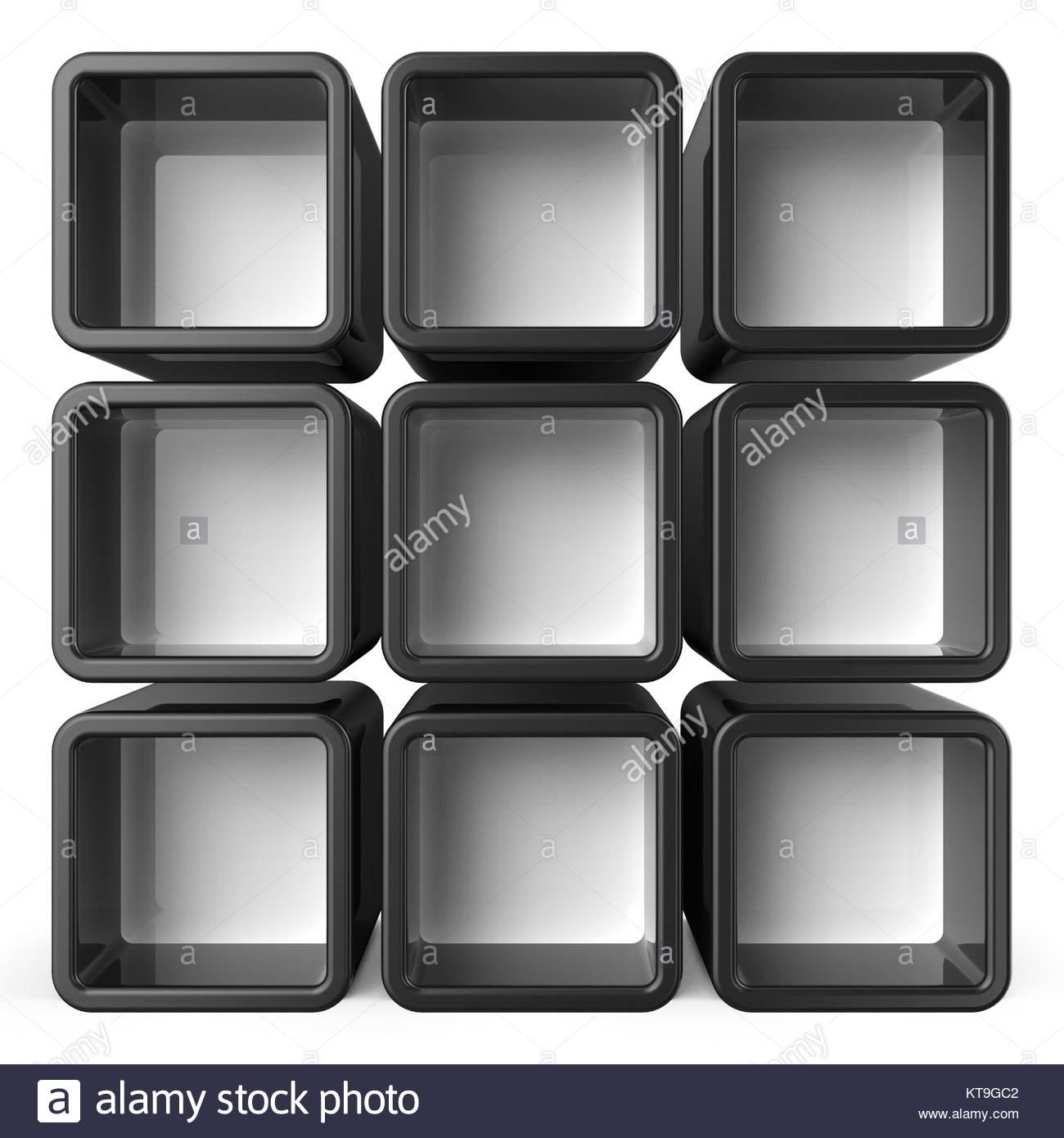 Copy space black and white shelf set 3D - Stock Image