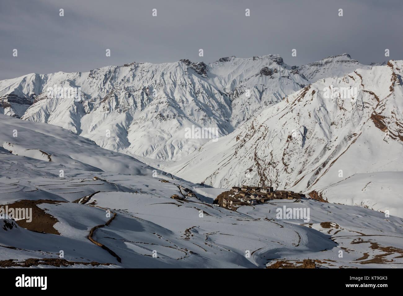 Kibber village in winter in Spiti Valley in Himachal Pradesh, India - Stock Image