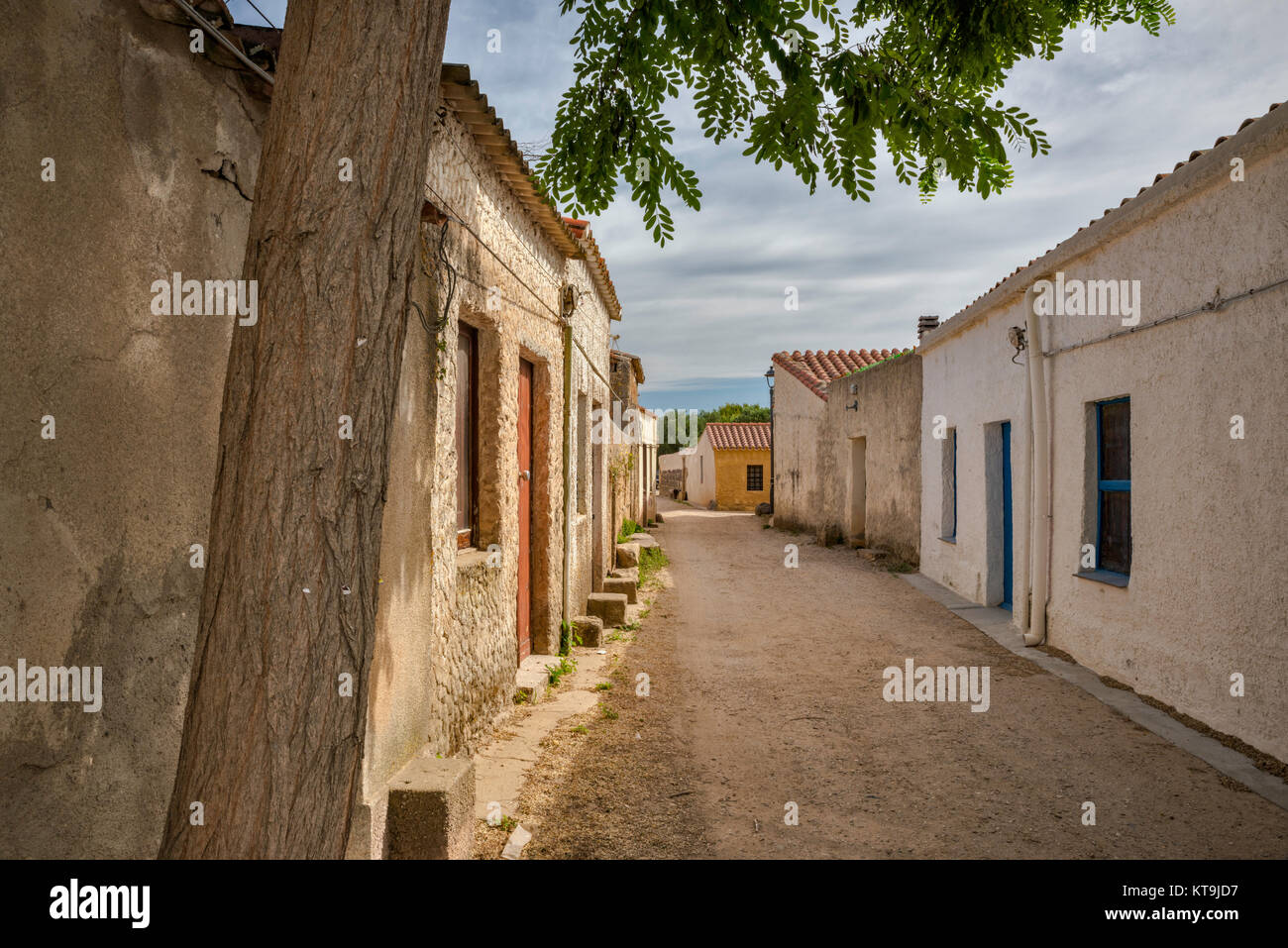 Domigheddas (little houses) in a deserted village of San Salvatore, Sinis Peninsula, municipality of Cabras, Oristano - Stock Image