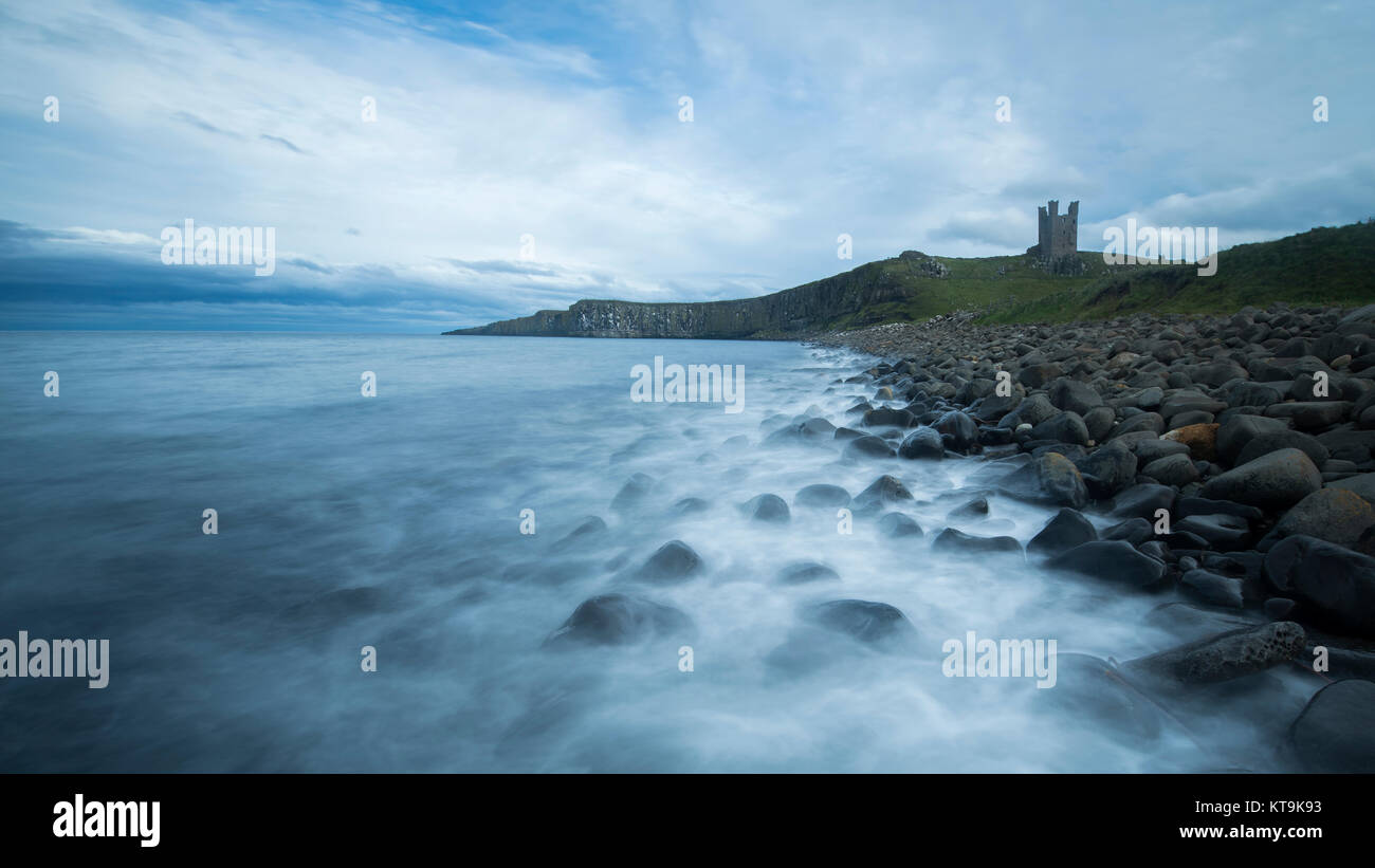 Dunstanburgh Castle in Northumberland. - Stock Image
