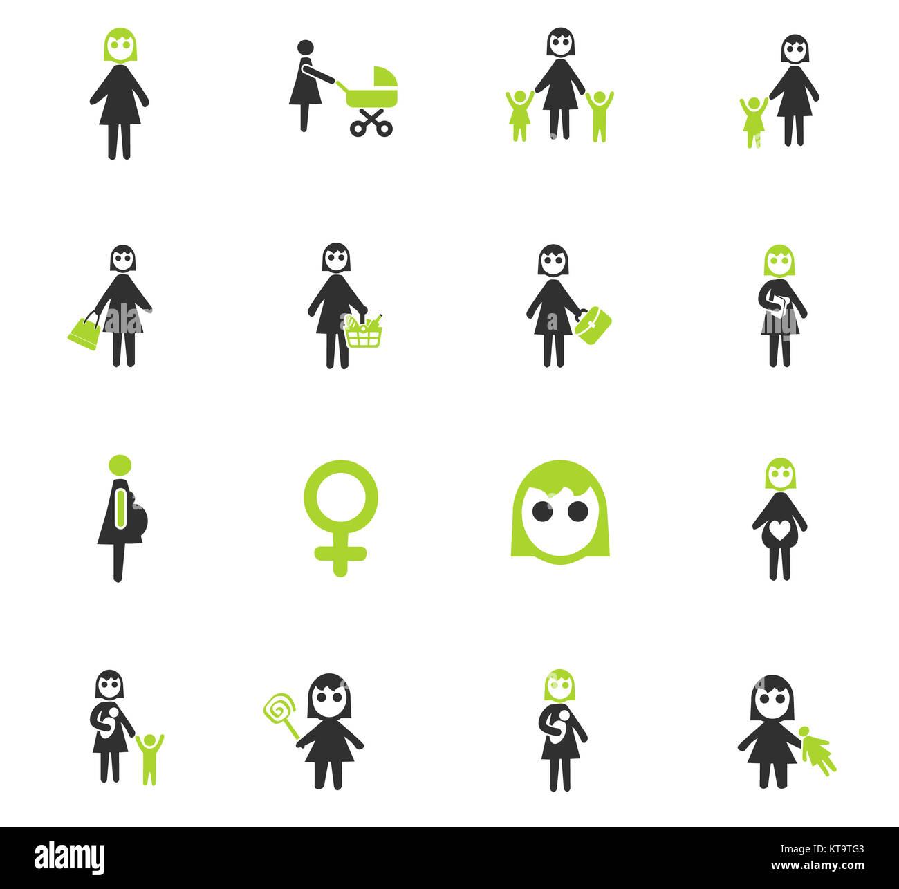 woman icon set - Stock Image