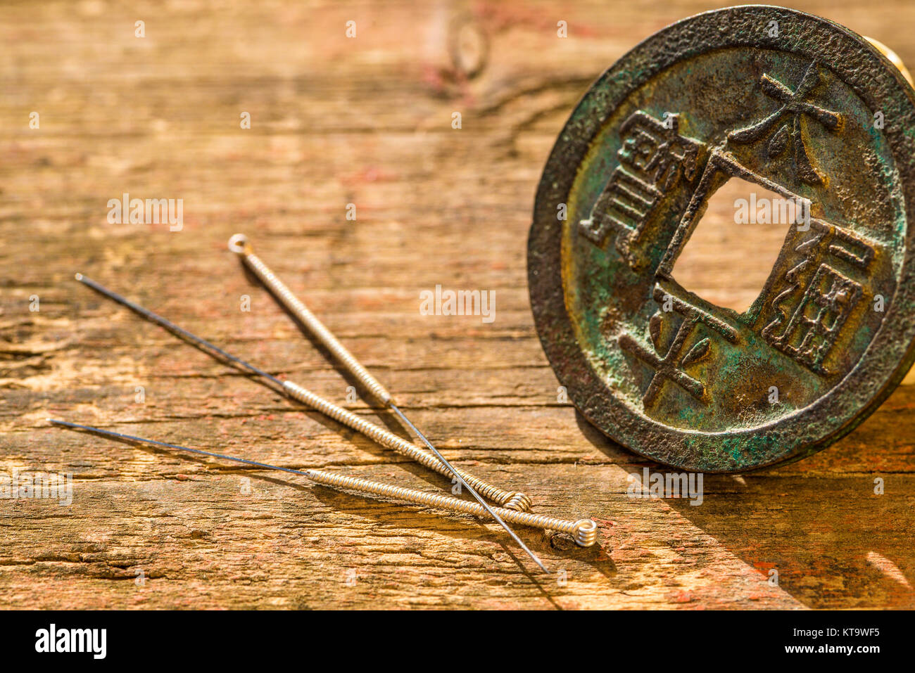 Acupuncture Needles Chinese Ancient Coin Stock Photo Alamy