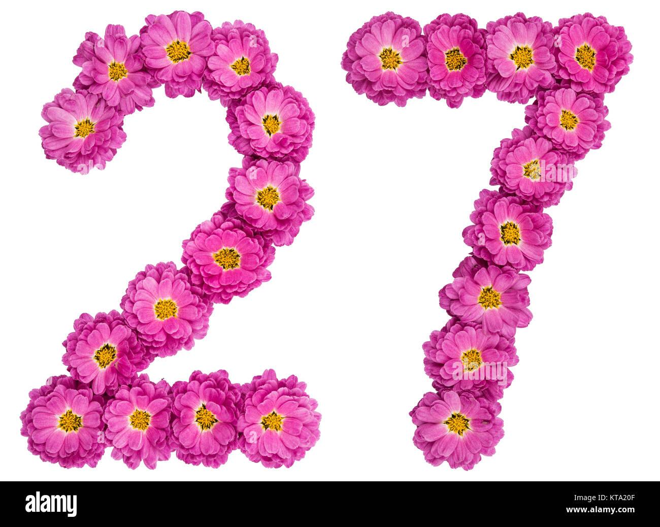 birthday number 27 pink
