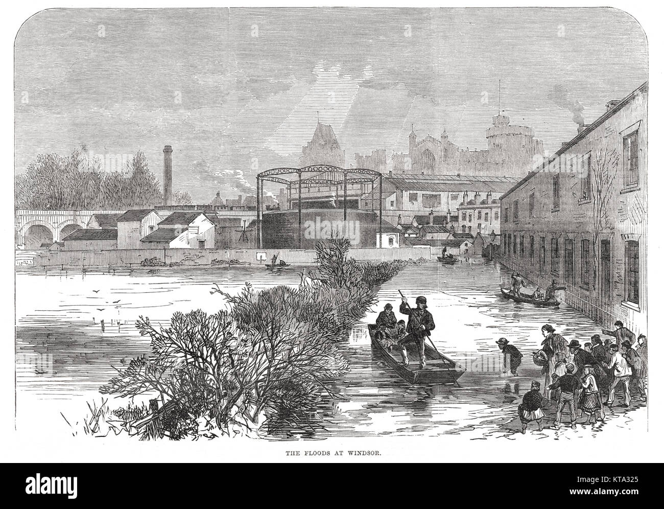 River Thames floods at Windsor in 1869 Stock Photo