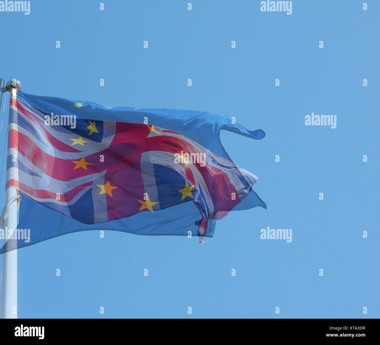 Union Jack and Europe flag superimposed - Stock Image