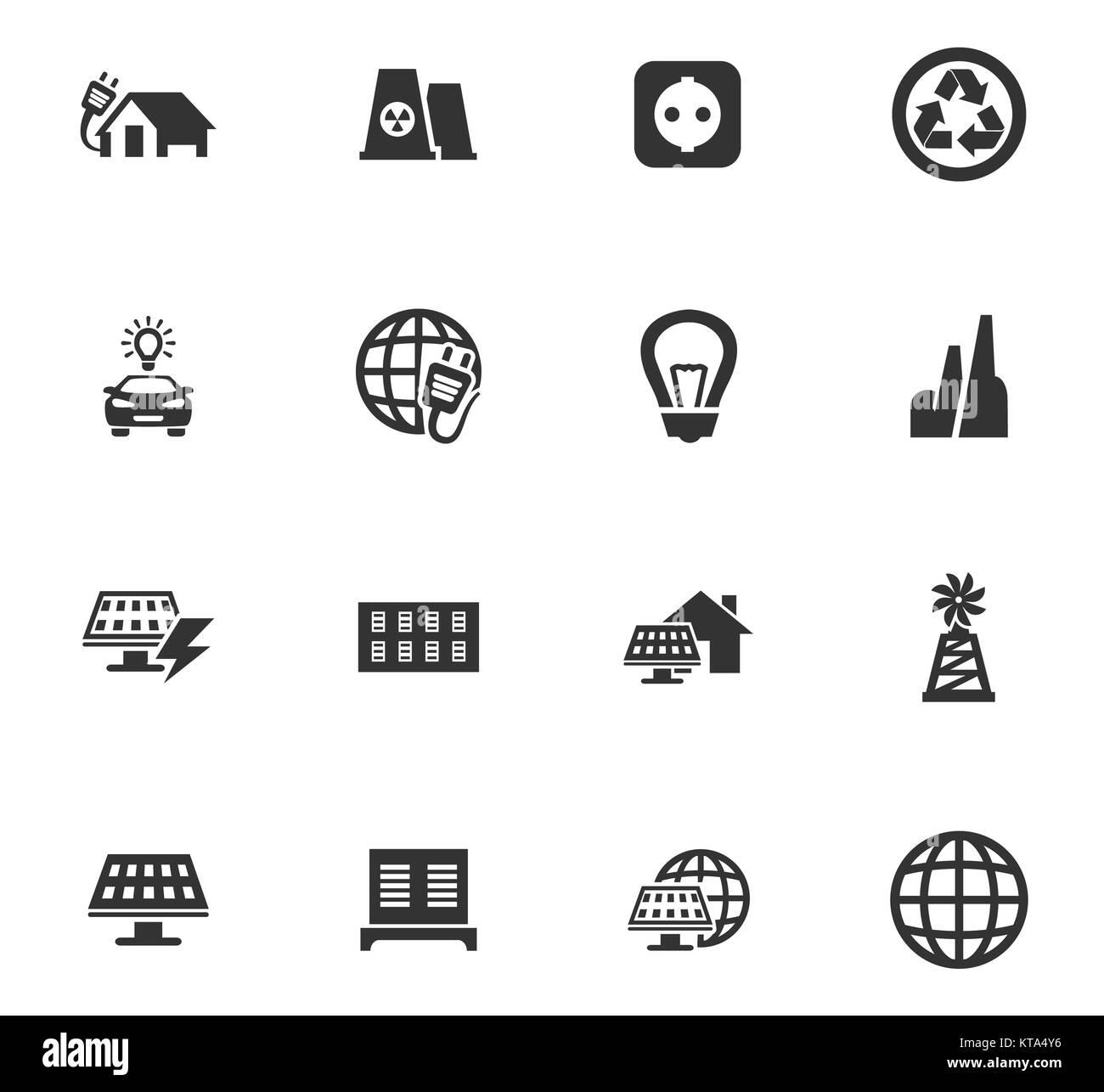 Alternative energy icons set - Stock Image