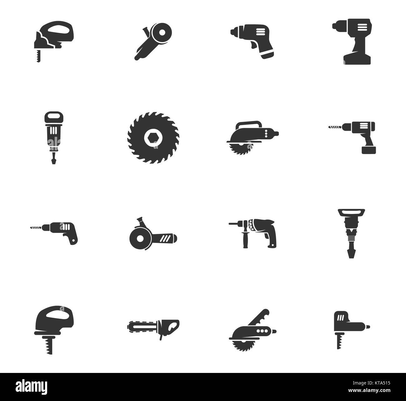 Power tools icons set - Stock Image