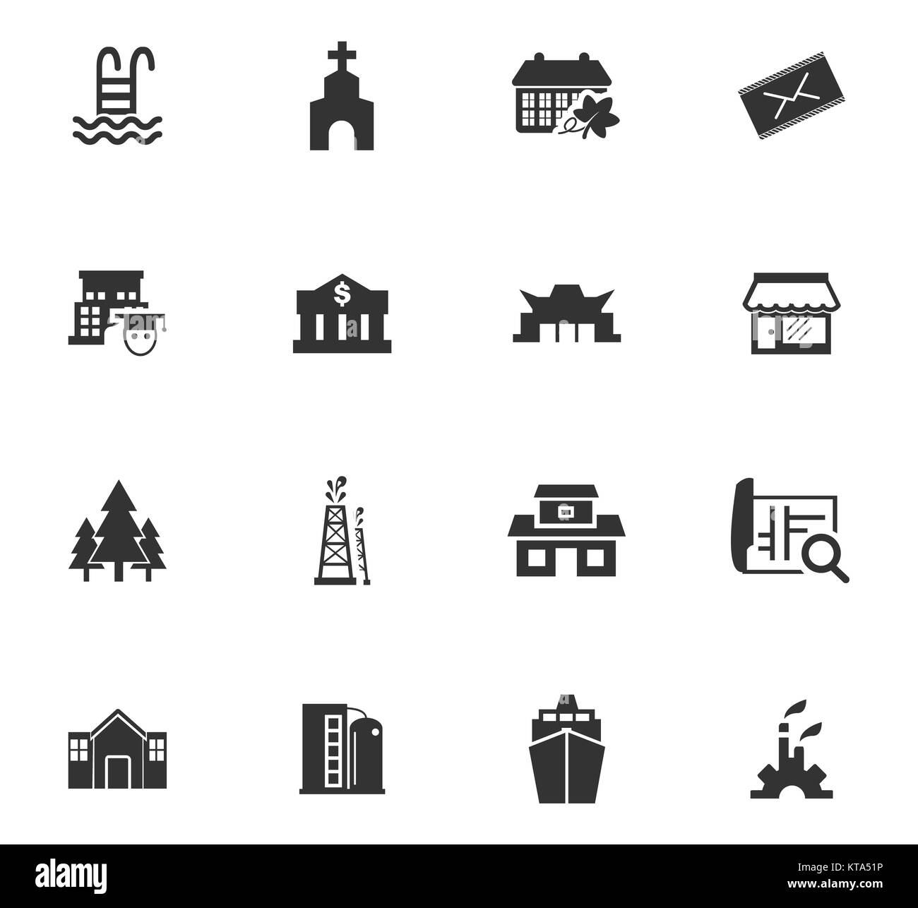 Infrastucture of the city icons set Stock Photo