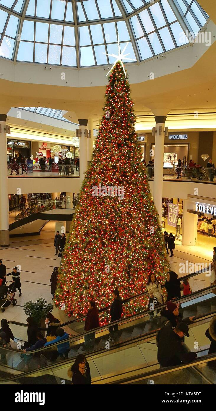 Christmas decorations at Markville plaza mall in Toronto, Canada Stock Photo