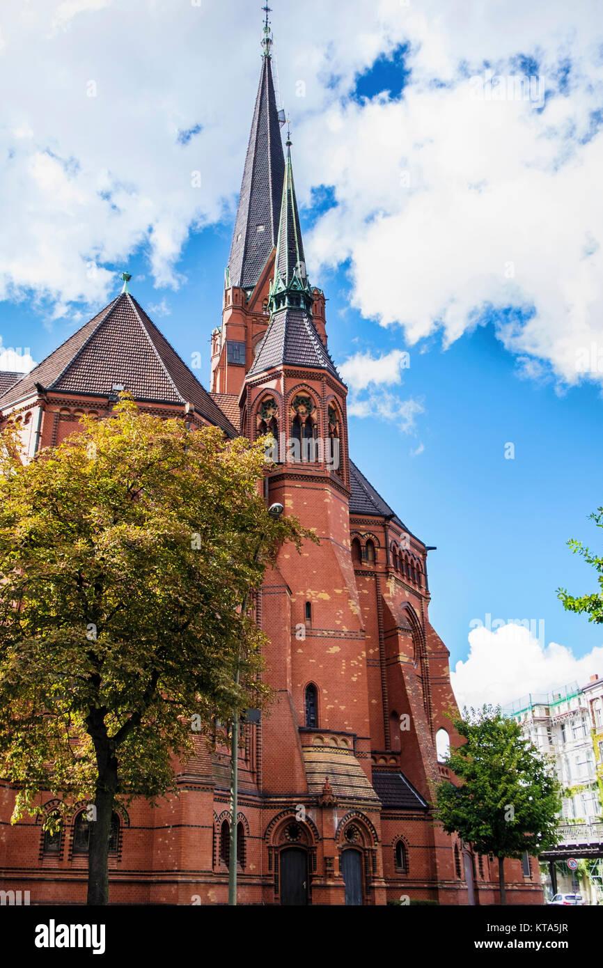 Berlin Schöneberg. American church in Berlin, Lutheran Church on Dennewitzplatz, Historic gothic style listed - Stock Image