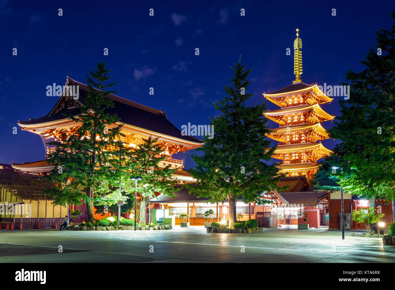 night view of sensoji, an ancient Buddhist temple - Stock Image