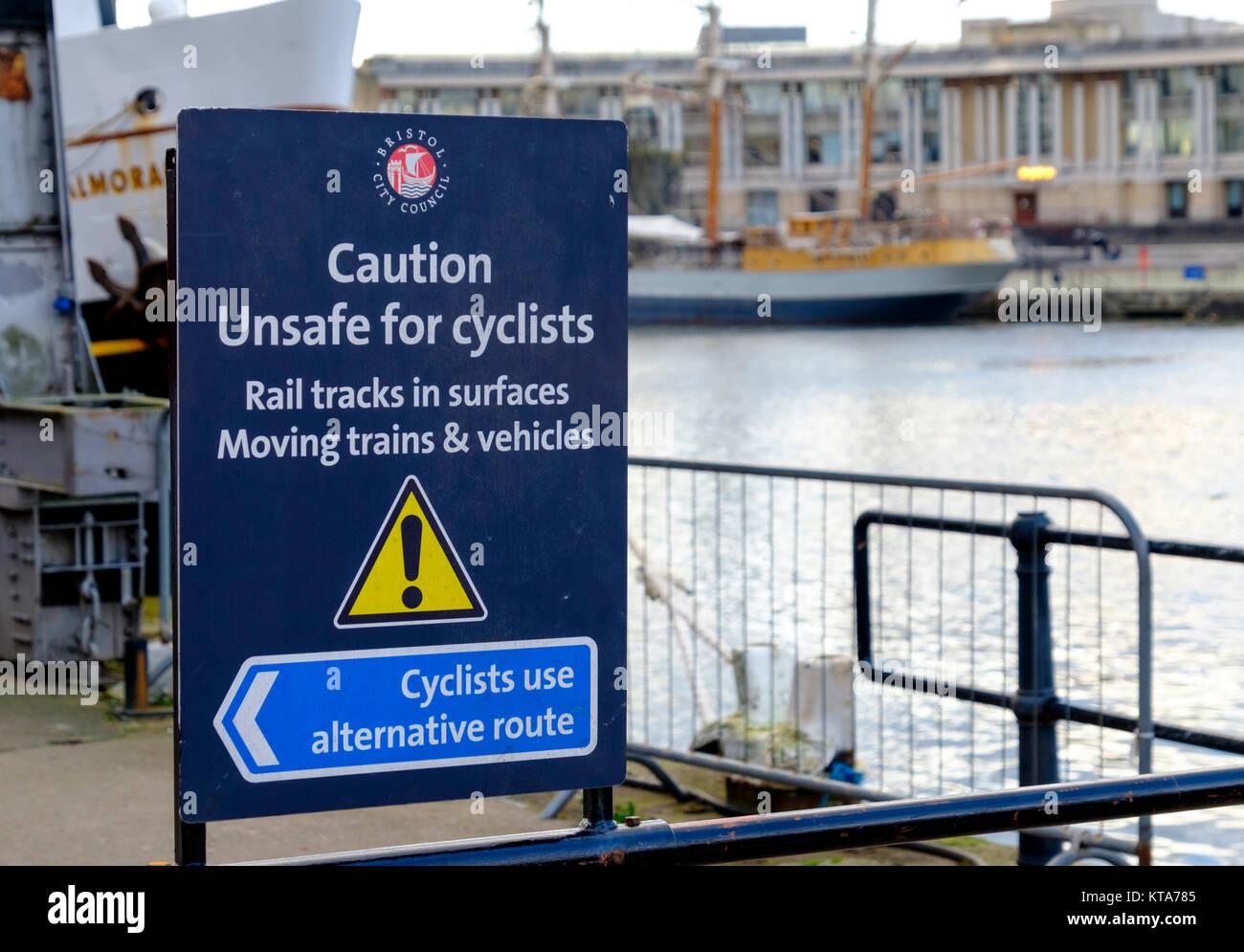 Cycling safety sign on Bristol Harbourside Bristol England UK - Stock Image