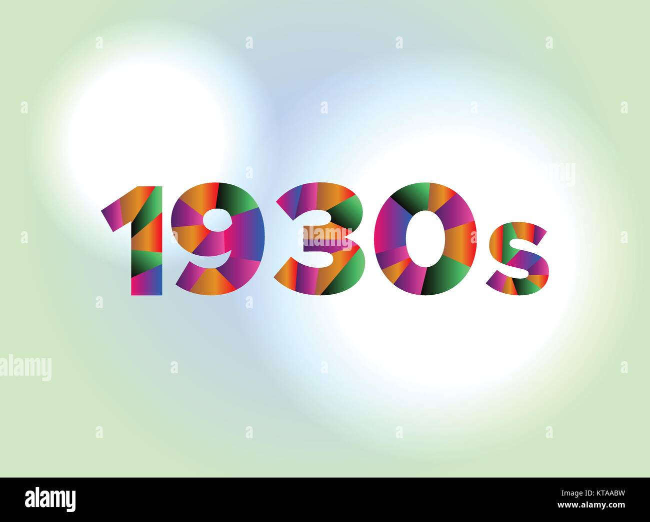 The word 1930s concept written in colorful fragmented word are on a bright background illustration. Vector EPS 10 - Stock Vector