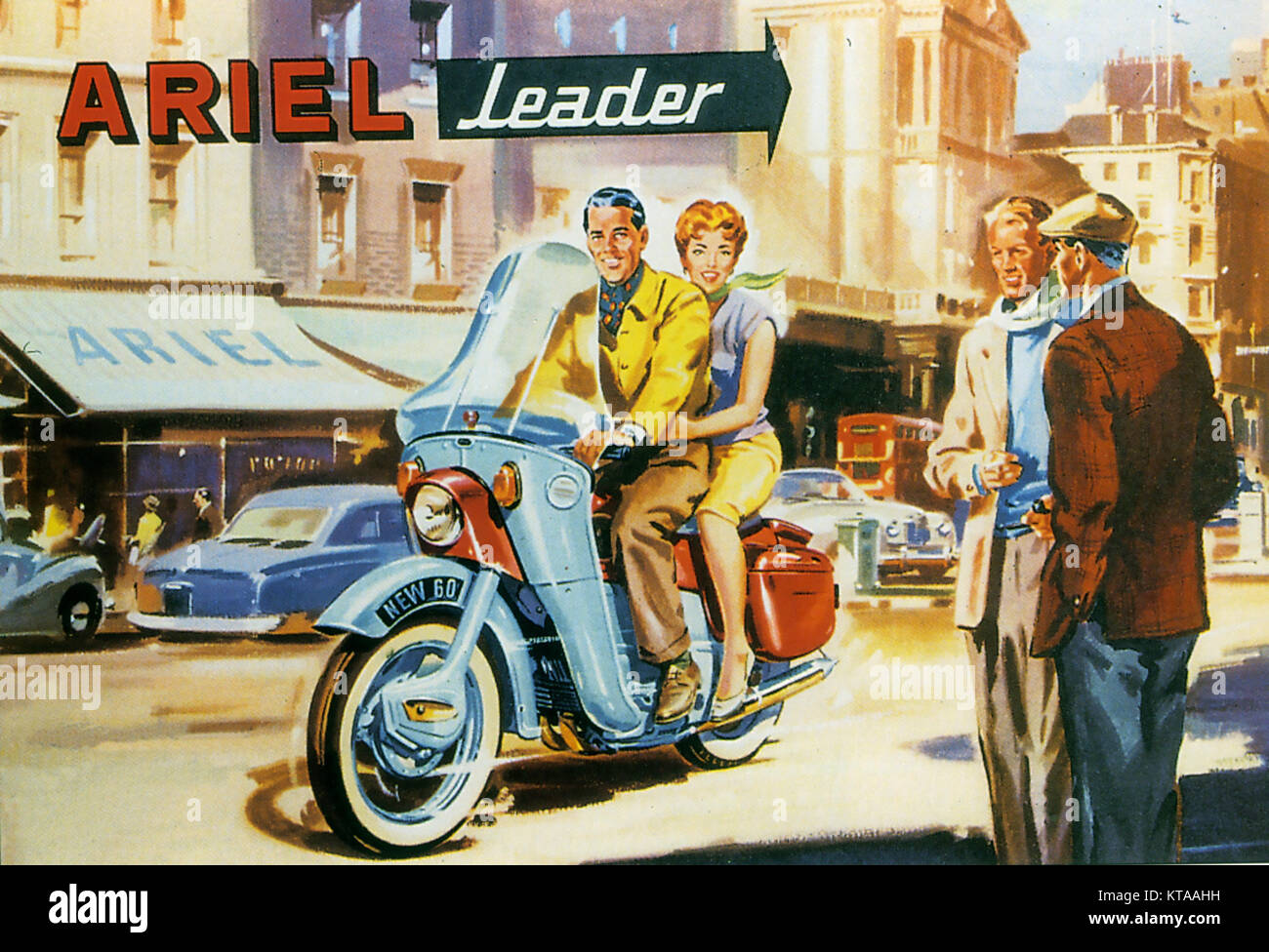 ARIEL MOTORCYCLES A 1959 advert for the 250cc two stroke Leader model - Stock Image