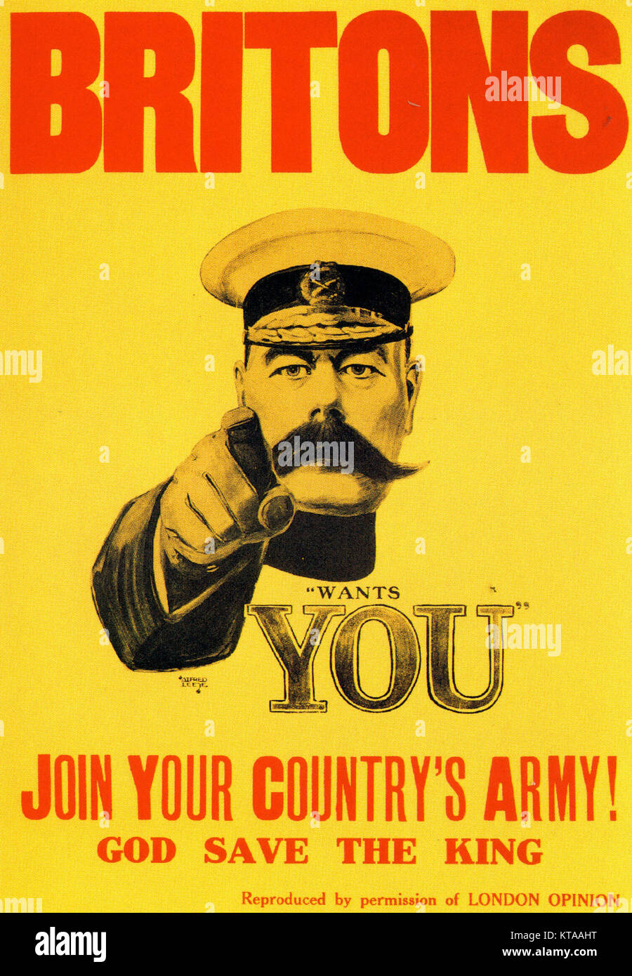 HERBERT KITCHENER, 1st Earl Kitchener (1850-1916) on the iconic 1914 British recruiting poster designed by Alfred - Stock Image