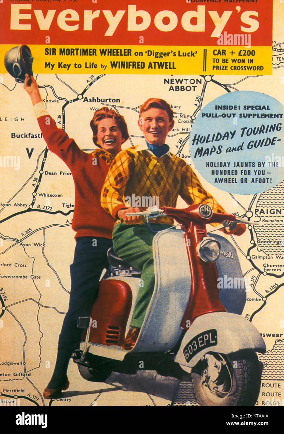 EVERBODY'S WEEKLY  3 May 1958. English magazine merged with John Bull magazine in 1959. Cover shows a Lambretta - Stock Image