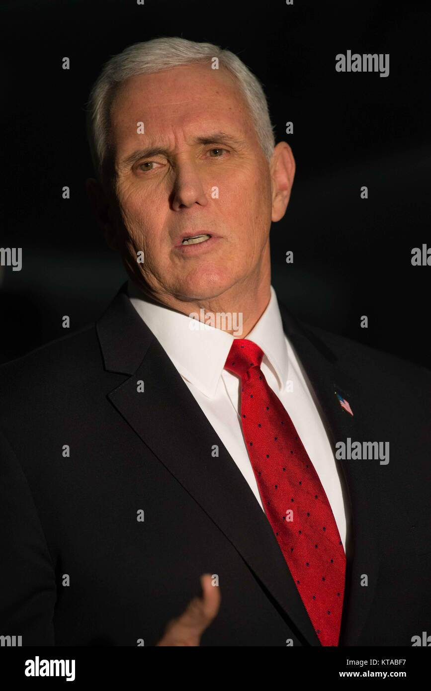 U.S. Vice President Mike Pence during an unannounced Christmas visit to Bagram Air Base December 21, 2017 in Bagram, - Stock Image