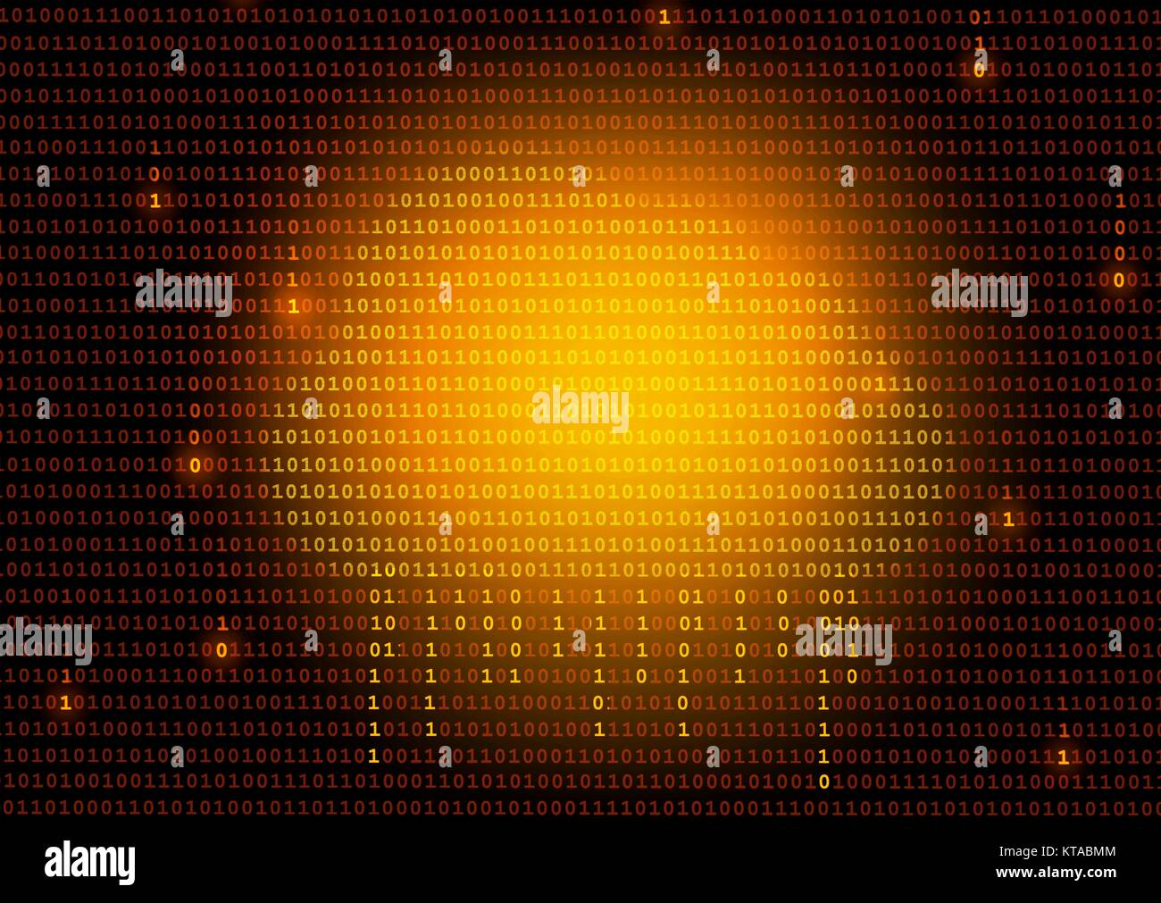 Cloud computing, conceptual illustration. An image of a cloud on a background on ones and zeros (binary numbers) - Stock Image