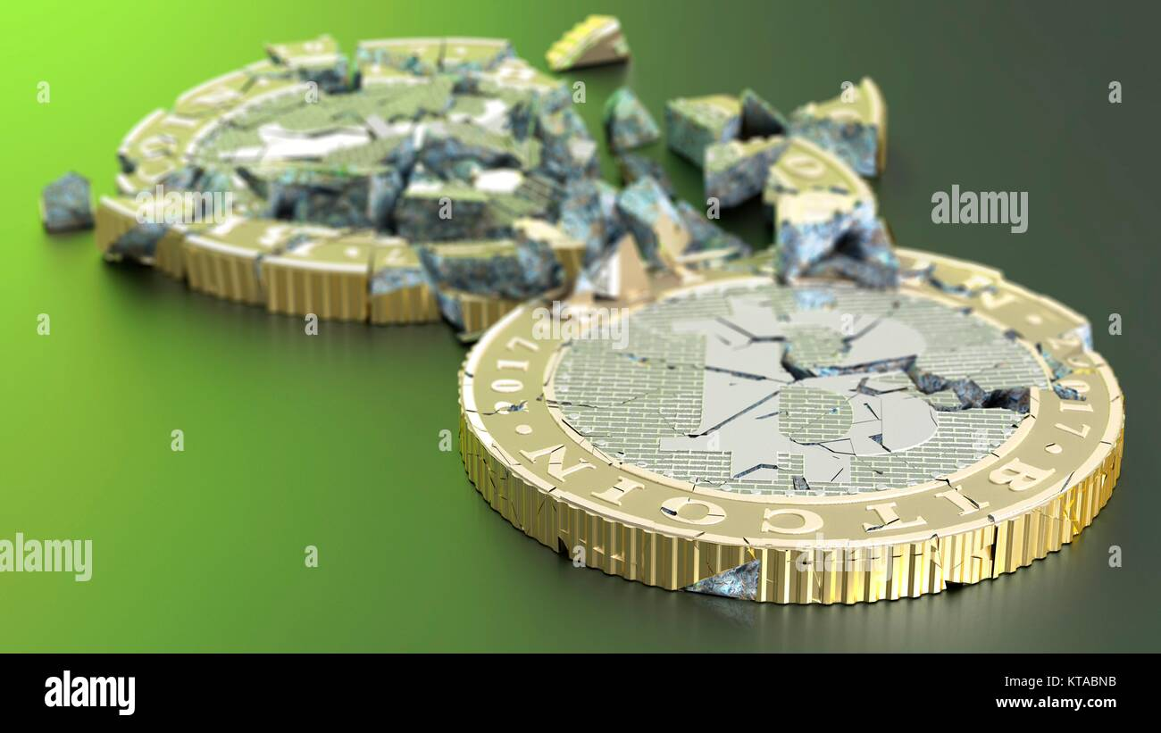 Conceptual artwork representing the bursting of bitcoin cryptocurrency bubble. Bitcoin is a type of digital currency, Stock Photo