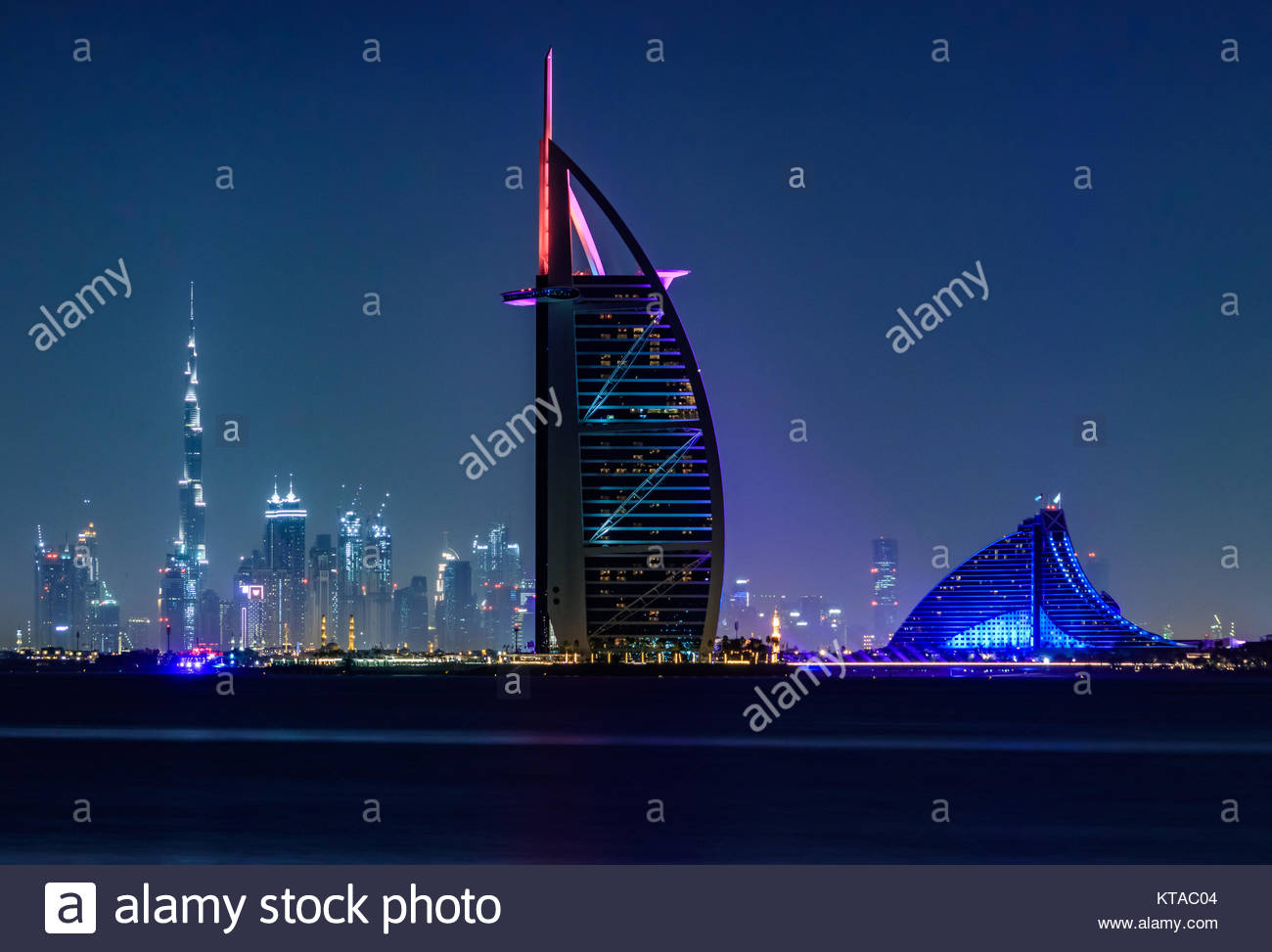 View of Burj Al Arab, Burj Khalifa, and Jumeirah Beach Hotel from Palm Jumeirah. - Stock Image